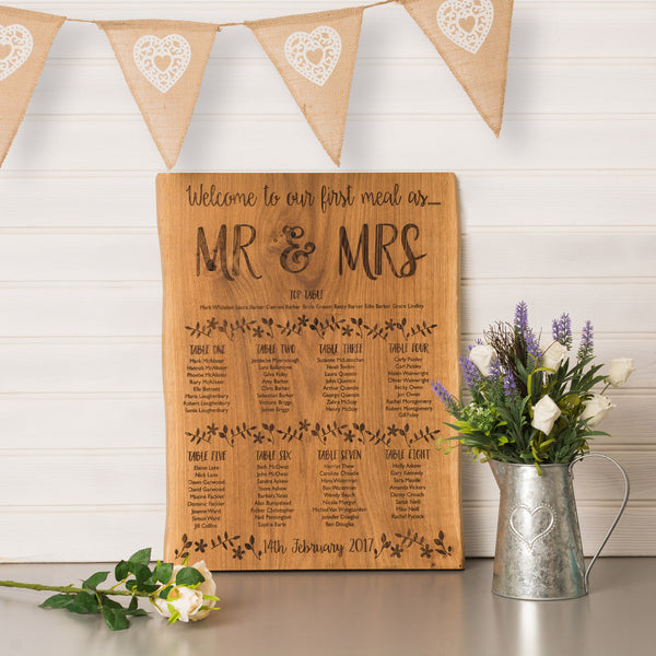 Personalised Woodland Flowers Oak Table Plan
