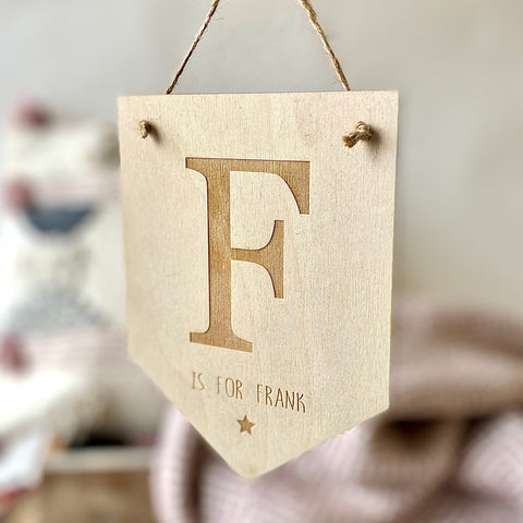 Personalised Wooden Letter Flag