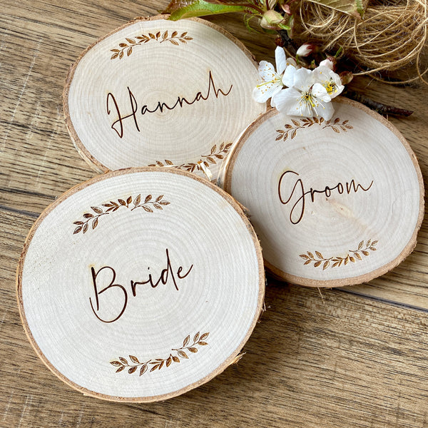 Personalised Rustic Coaster and Place Setting (Leaves)