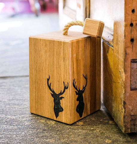 Solid Oak Stags Head Doorstop