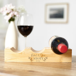 Personalised Couples Bamboo Wine Rack