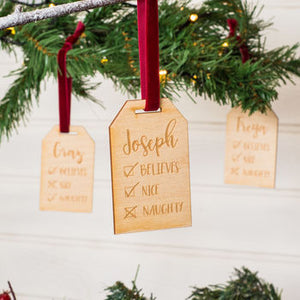Personalised Naughty Or Nice Christmas Tree Decorations