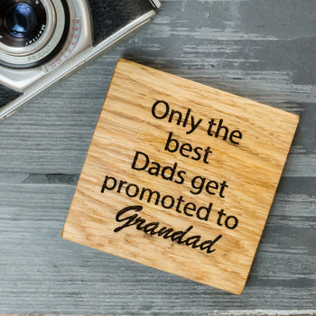 Personalised Oak Grandads Coaster