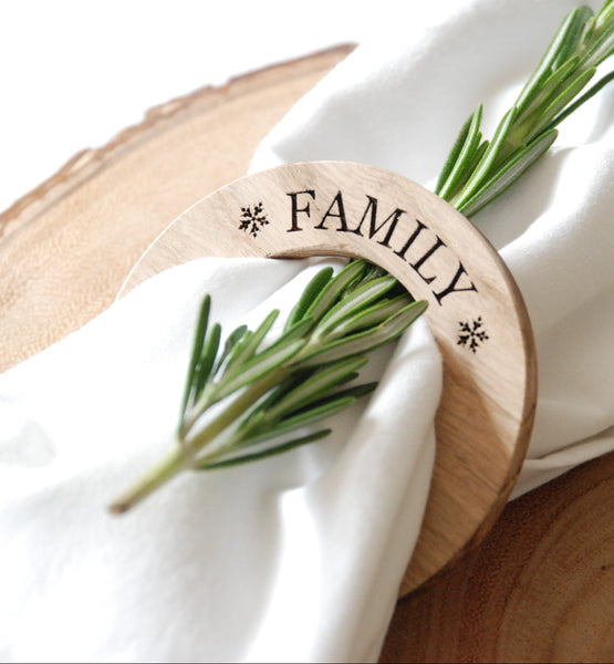 Personalised Christmas Oak Napkin Rings