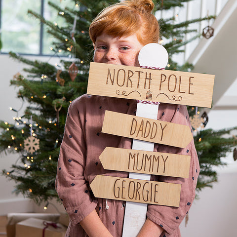 Personalised North Pole Christmas Sign Decoration
