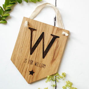 Personalised Oak Letter Flag