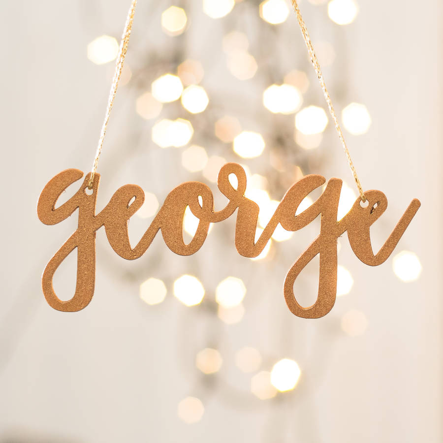 Personalised Copper Christmas Tree Name Decorations