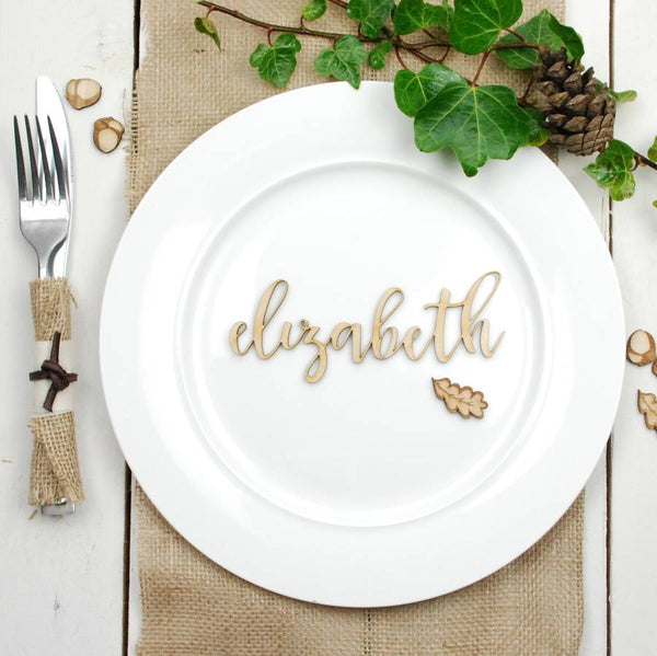 Personalised Plywood Wedding Name Place Settings