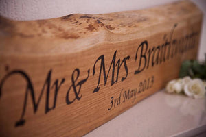 Personalised Solid Oak 'Mr And Mrs' Plaque