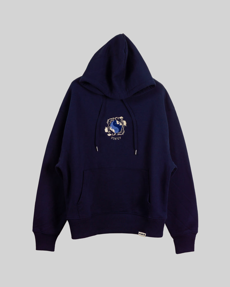 French Navy Koi Embroidered Hoodie