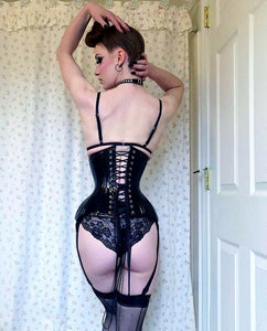 Black Leather Underbust Corset Hip Waist  Slimming Corsets For Women
