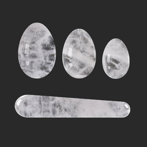 Natural Rock Quartz Yoni Eggs Set Kegel Exercise Ben Wa Ball Drilled and Undrilled Feminine Hygiene Love Eggs.