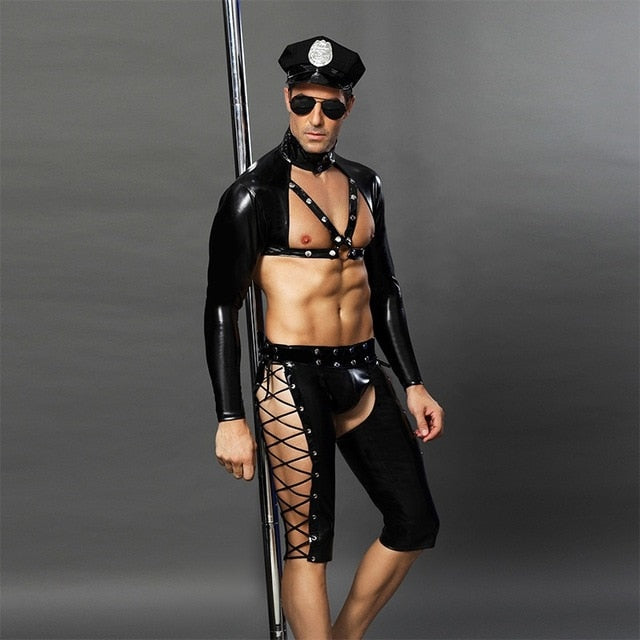 Sexy Male Costumes Mens Role Play Sexy Leather Police Uniform Set