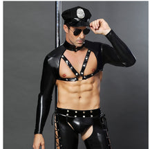 Load image into Gallery viewer, Sexy Male Costumes Mens Role Play Sexy Leather Police Uniform Set