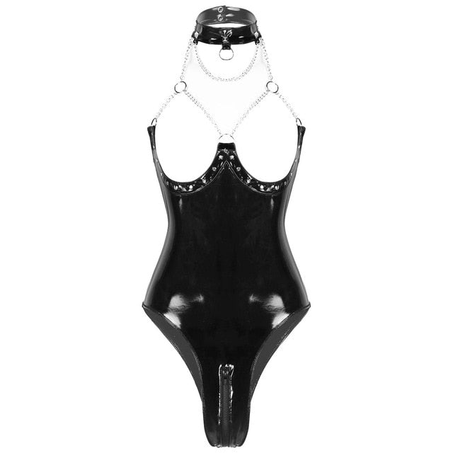 Womens Sexy One-piece Wet Look Patent Leather Lingerie Halter Neck Open Cups Low Back Zippered Crotch Leotard Bodysuit Nightwear