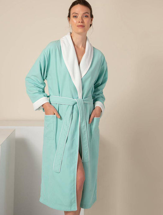 Women's Robes Mint Green Plush Lined Double Layer Microfiber Robe
