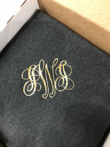 Personalized Monogrammed Cocktail Napkins