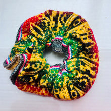 Load image into Gallery viewer, Large White Patterned Peruvian Scrunchie