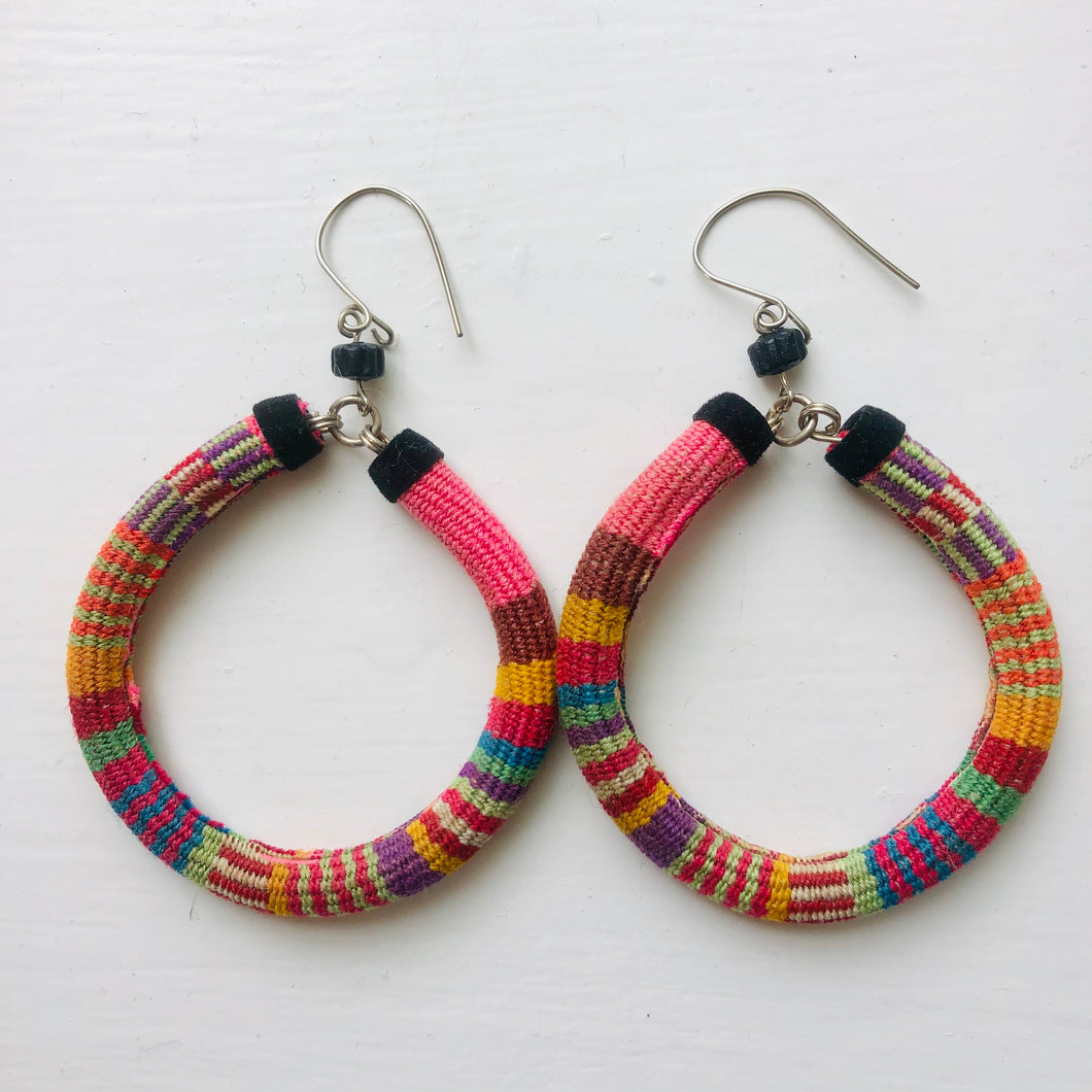 Large Multi Coloured Hoop Earrings - Pink