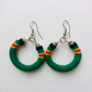 Small Green Multi Coloured Hooped Earrings