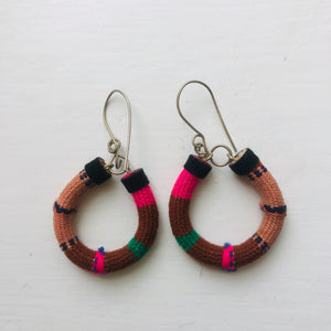 Small Brown and Pink Hoops