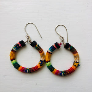 Yellow Multi Coloured Small Hoops