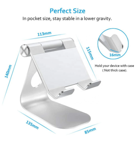 Tablet Stand Adjustable and Desktop Stand Holder Dock Compatible with iPhone and iPad devices - SafeGate