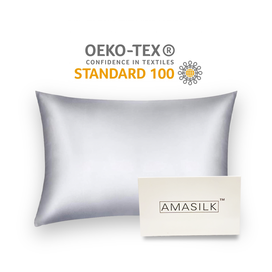 AmaSilk  Pure Mulberry Silk Pillowcase Silver Grey  20 x 30 in