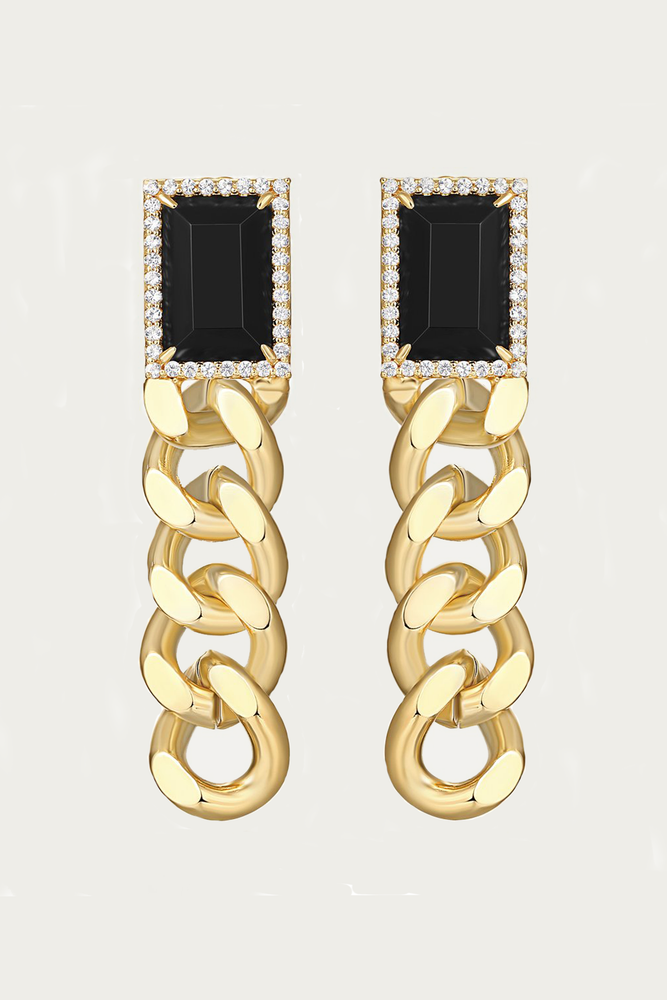 F+H JEWELLERY - ANNIE GEMSTONE CHAIN EARRINGS