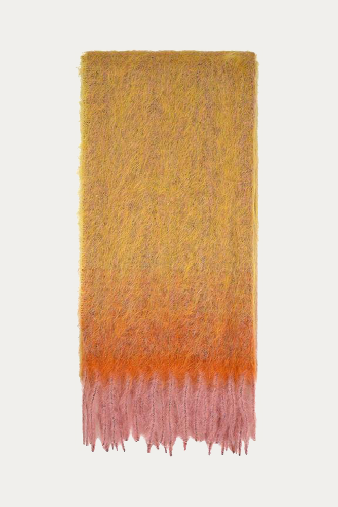 Accessories, alpaca, faded, faded orange, fading, large scarf, mohair, mohair and alpaca blend, mohair blend, neck scarf, ombre, orange, oversized, oversized scarf, scarf, Scarves, Stine Goya, yellow