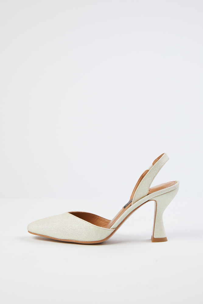 back strap, beige, champage, closed toe, cream, dressy, elastic, elastic strap, footwear, glitter, green, heels, high heel, ivory, leather, light yellow, pale yellow, pointed toe, sandal, shimmer, shimmery, shoe, Shoes, slim heel, slingback, Stine Goya, tall, white, white glitter, yellow