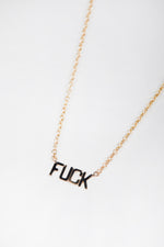 14k, 14k gold, Accessories, adjustable, adjustable length, chain necklace, charm, choker, choker necklace, choker style, dainty, delicate, delicate necklace, Everyday Essentials, feminine, fine jewelry, fuck necklace, gold, gold chain, gold chain necklace, Jewelry, May Martin Fine, real gold, solid, solid gold, word necklace, words necklace