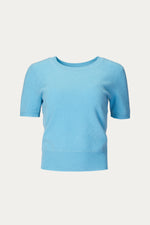 _GetTheLook, _related:jones-pants, _related:origami-slipper, blue, caribbean, cashmere, casual, Clothing, conservative, crew neck, daywear, dressy, Everyday Essentials, knit, knitted, light blue, loose, naadam, pastel, powder blue, professional, pullover, ribbed trim, round neck, scoop neck, shirt, Shirts, short sleeve, short sleeved, short sleeves, short top, sky blue, sophisticated, Spring Separates, sweater, Sweaters & Knits, teal, top, tops, waist length, warm, work top