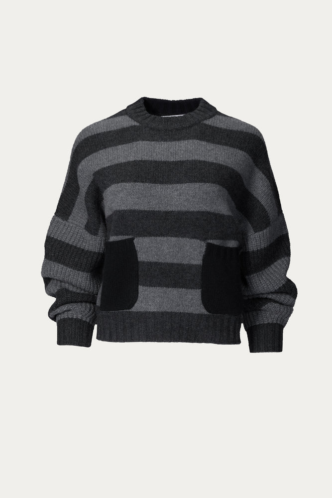 _GetTheLook, _related:daytona, cashmere, Clothing, cropped, front pockets, mongolian cashmere, naadam, scoop neck, shirt, Shirts, stripes, stripped, Sweater, Sweaters & Knits, top, tops