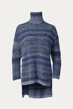 _GetTheLook, _related:THE-BILLY, alpaca, blue, blue combo, Clothing, cozy, Everyday Essentials, high low, horizontal stripes, jumper, long sleeve, long sleeves, naadam, navy, oversized, polyamide, ribbed, shirt, Shirts, slit, slits on sides, stripes, sweater, Sweaters & Knits, top, tops, turtleneck, wool