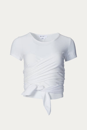Load image into Gallery viewer, _GetTheLook, _related:lara-croft-jeans, Beach Vacation, bustier, Clothing, cotton, cotton tee, Everyday Essentials, jersey, round neck, shirts, short sleeve, Spring Separates, stretch, stretch-cotton jersey, t shirt, tee shirt, The Line By K, tie, tops, white, wrap, wrap top