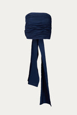 _GetTheLook, _related:mom-leather-pants, Beach Vacation, blouse, blue, bow, bow tie, Clothing, cotton, crop, cropped, dark blue, dressy, dressy top, Georgia Alice, huge bow, interior boning, large bow, navy, polyester, ruched, ruching, shirt, shirts, sleevess, solid, Special Events, special occasion, Spring Separates, strapless, tank, tank top, tops, wrap
