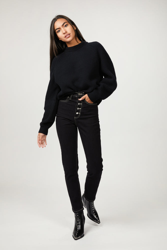 The Silence : Designer Fashion for women! THE DANIELLE - High rise jean with a straight leg. Rigid denim with button fly Color : BLACK