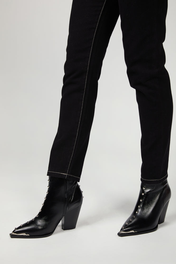 The Kooples - HEELED LEATHER ANKLE BOOTS WITH STUDS
