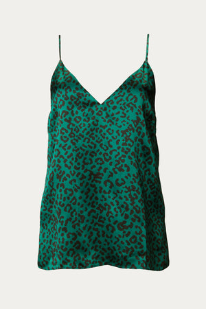Load image into Gallery viewer, _GetTheLook, _related:the-danielle, adjustable straps, black, cami, Cami NYC, camisole, charmeuse, Clothing, dark green, emerald, emerald green, emerald leopard, green, green and black leopard, leopard, leopard motif, Matching Sets, relaxed slim fit, satin, shiny, shirt, silk, silk sandwash charmeuse, silky, spaghetti strap, Special Events, strapless, tank, tank top, Tops, v neck
