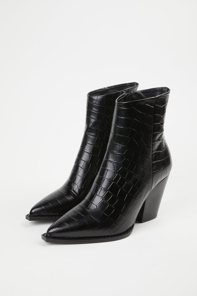 ankle boot, ankle boots, black, black boot, boot, bootie, booties, boots, cow leather, croco, croco design, croco motif, croco print, crocodile, crocodile motif, Everyday Essentials, goat leather, leather, leather cow, point toe, pointed, pointed toe, Shoes, slant heel, slanted heel, THE KOOPLES