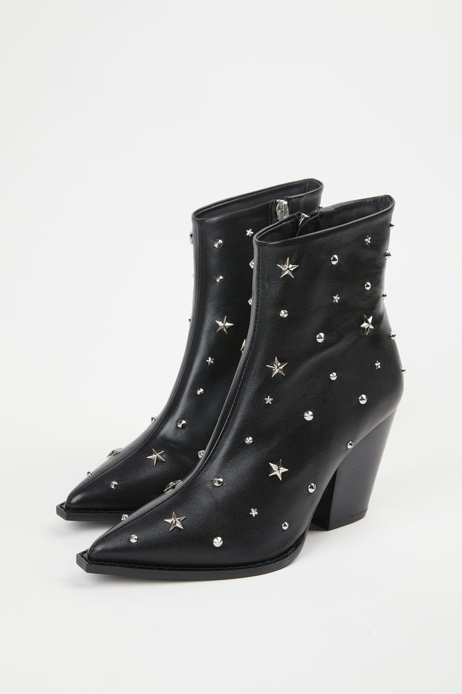 ankle boot, ankle boots, ankle boots with heel, black, black boots, black leathe, black leather, black leather ankle boot, black leather ankle boots, black leather boots, boot, bootie, booties, boots, Botts, Everyday Essentials, heeled boots, leather, point toe, pointed toe, Shoes, side zip, side zipper, silver hardware, silver star studs, silver studs, silver zipper, Spring Separates, star, star stud boots, star studded, star studded boots, star studs, stars, studded, studs, THE KOOPLES, zipper
