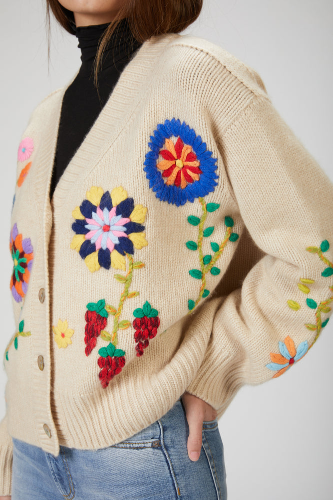 Load image into Gallery viewer, MANDKHAI - HAND EMBROIDERED CARDIGAN