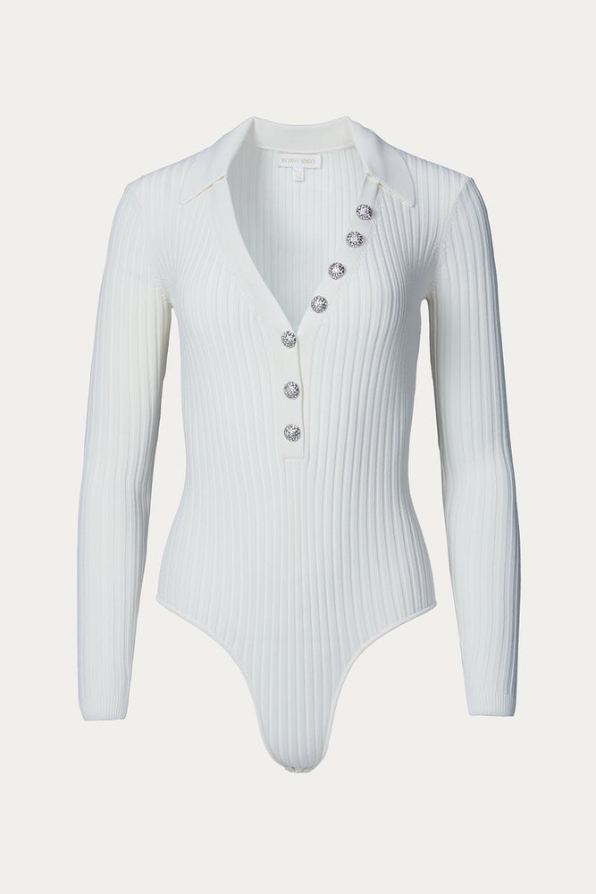bodysuit, Bodysuits, Clothing, cream, crystal, crystal buttons, crystal embellishments, crystals, embellished, embellishment, ivory, knit, knitwear, long sleeve, long sleeved, long sleeves, nylon, off white, plunging, plunging neck, plunging neckline, rib, ribbed, Ronny Kobo, shirt, Shirts, slim, slim fit, slim fitting, slimming, thick, thong, thong bottom, tight, top, tops, viscose, white