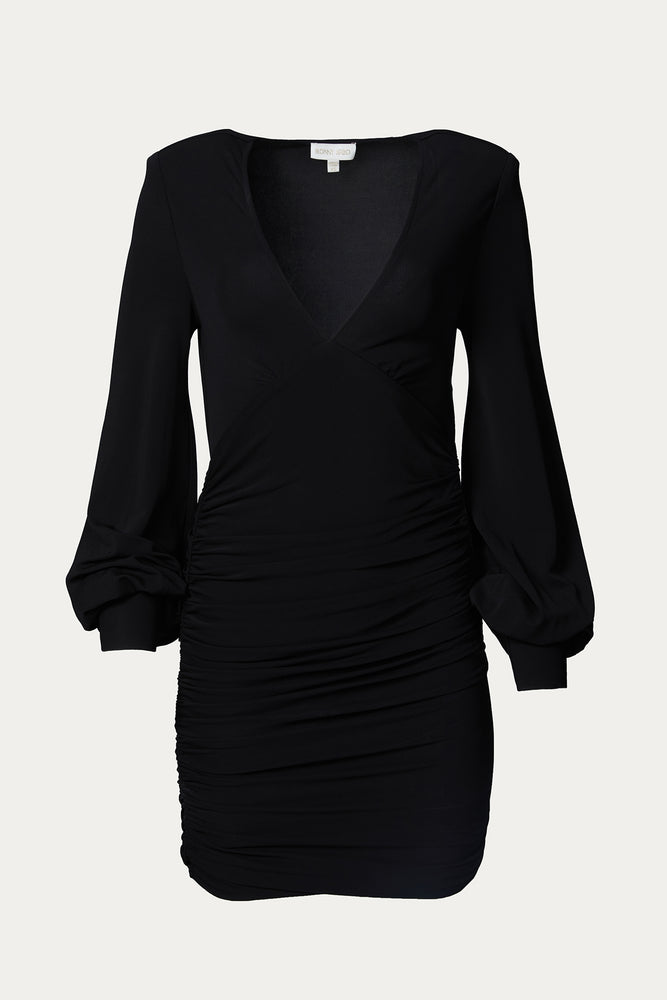 _GetTheLook, _related:devo-drop-earrings, black, black dress, close fit, Clothing, deep v, Dress, dresses, Everyday Essentials, fitted bodice, flowy sleeves, front ruching, full sleeves, long sleeve, long sleeved, long sleeves, loose sleeves, mini, mini dress, mini dresses, Ronny Kobo, ruched, ruched bodice, ruched midi dresses, ruching, short dress, slim fit, Special Events, stretchy, tight, v neck, v neckline
