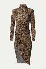 _GetTheLook, _related:stick-and-baguette-open-ring, _related:the-pave-marseille-huggie, asymmetrical, asymmetrical hem, beige, black, brown, Clothing, dresses, form fitting, front ruching, high neck, high neck collar, high neckline, leopard, leopard motif, leopard print, leopard tan, long sleeves, mock neck, polyester, Ronny Kobo, ruched, ruching, sand, shoulder pads, side ruching, spandex, Special Events, strong shoulder, tan, turtleneck