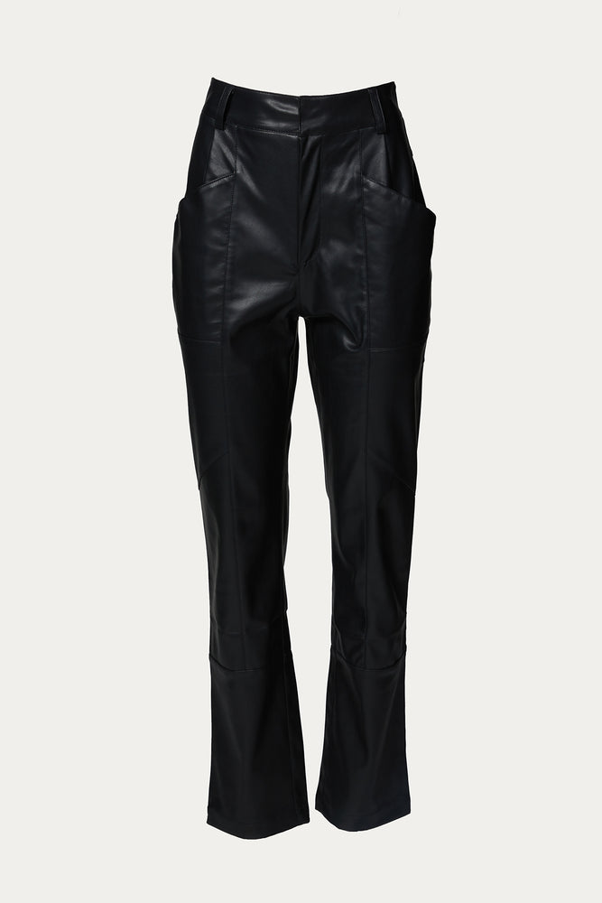 ankle slacks, black, black pants, Clothing, edgy, Everyday Essentials, faux, faux leather, high waist, leather, Pants, polyester, polyurethane, Ronny Kobo, shiny, shiny finish, slacks, Special Events, trouser, trousers, vegan, vegan leather