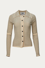 beige, black, cardigan, Clothing, EENK, New Arrivals, polyester, stripe, Sweaters & Knits, tops, viscose rayon