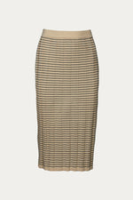 beige, black, Clothing, EENK, New Arrivals, polyester, ribbed, Skirt, stripe, viscose rayon