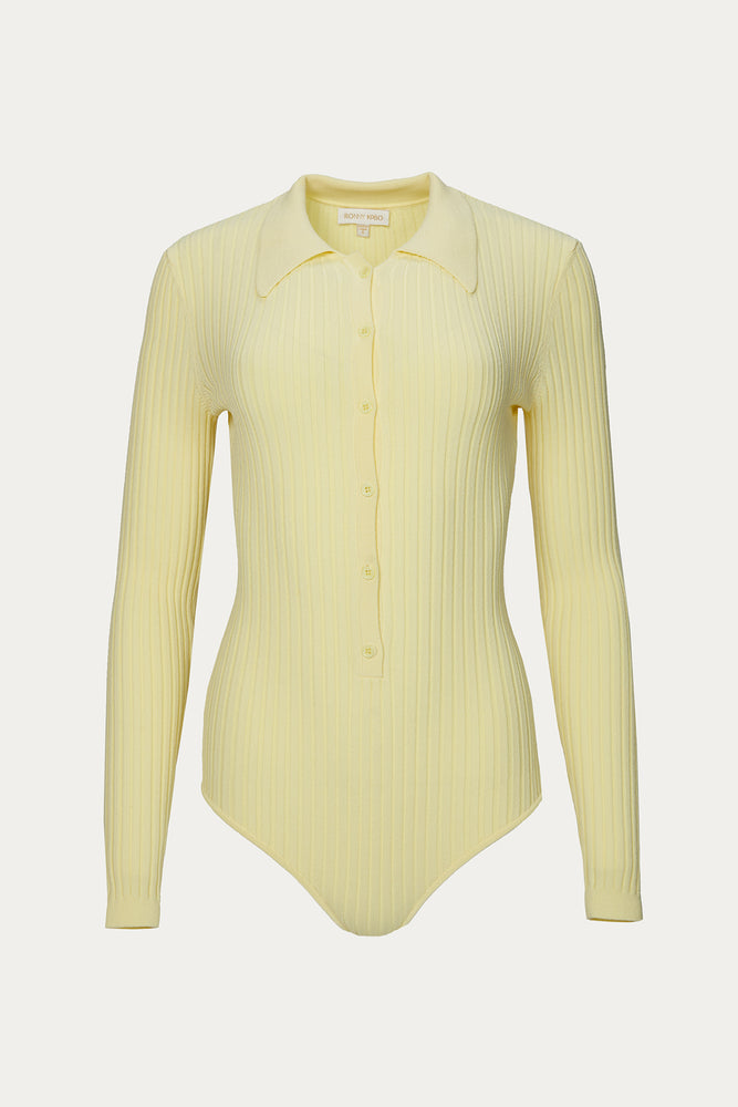_GetTheLook, _related:mom-jean, bodysuit, bodysuits, Clothing, knitwear, long sleeve, long sleeve polo, New Arrivals, nylon, pale yellow, pale yellow long sleeve bodysuit, pale yellow long sleeve polo, pale yellow top, ribbed knit long sleeve bodysuit, ribbed knit long sleeve top, ribbed knit top, Ronny Kobo, Spring Separates, tops, viscose, yellow, yellow bodysuit, yellow bodysuits, yellow polo, yellow polo bodysuit, yellow shirt, yellow top
